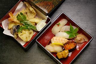 竹にぎりと天ぷら盛り合せ
